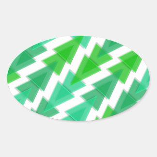 Green Geometric - Arrow Triangle Pattern Oval Sticker