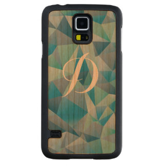 Green Geometric Custom Initial Carved Cherry Galaxy S5 Slim Case