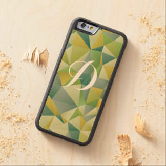 Green Geometric Custom Initial Carved® Maple iPhone 6 Bumper Case