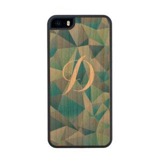 Green Geometric Custom Initial Carved® Cherry iPhone 5 Slim Case