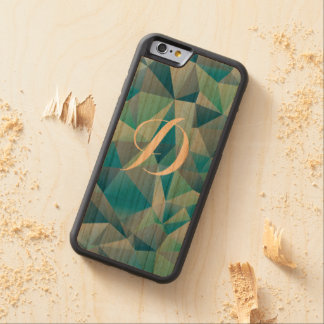 Green Geometric Custom Initial Carved® Cherry iPhone 6 Bumper