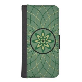 Green Geometric Flower iPhone 5 Wallets