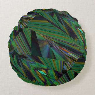 Green Geometric Fractals Faux 3-D Pattern Round Pillow