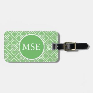 Green Geometric Monogram Pattern Bag Tag