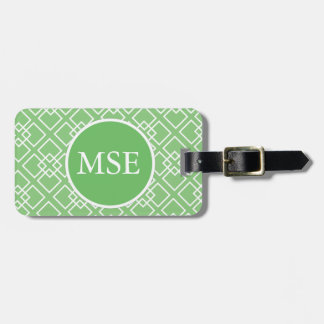 Green Geometric Monogram Pattern Tag For Luggage