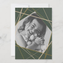 Green Geometric Sparkle Photo Holiday Card