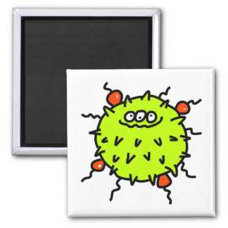 Green Germ 2 Inch Square Magnet
