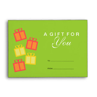 Green gift boxes business store gift certificate envelope