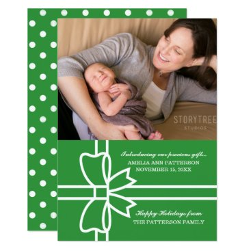 Beach Themed Green Gifted Holiday Photo Flat Card