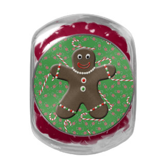 Green Gingerbread Boy Man Christmas Candy Canes Glass Candy Jars