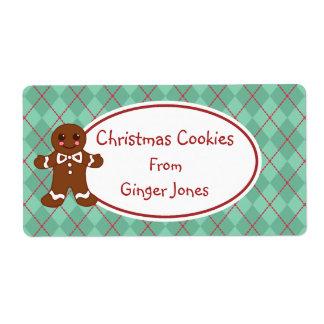 Green Gingerbread Christmas Cookies Labels