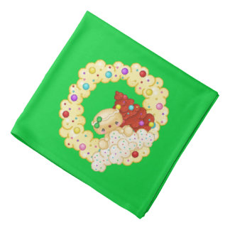 Green Gingerbread Girl Wreath Pixel Art Bandana