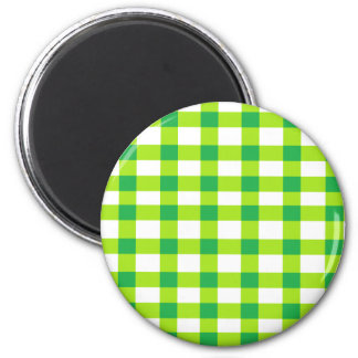 Green Gingham 2 Inch Round Magnet