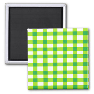 Green Gingham 2 Inch Square Magnet
