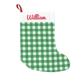 Green Gingham Add Your Name Personalized