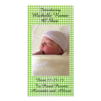 Green Gingham Baby Announcement Personalized 8x4