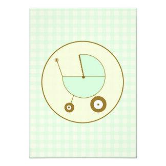 Green Gingham Baby Shower Invitation