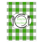 Green Gingham BBQ Invite Post Card