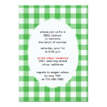 "Green Gingham - bbq party invitations-CUSTOM 5"" X 7"" Invitation Card"