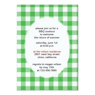 Green Gingham - bbq party invitations-CUSTOM Card