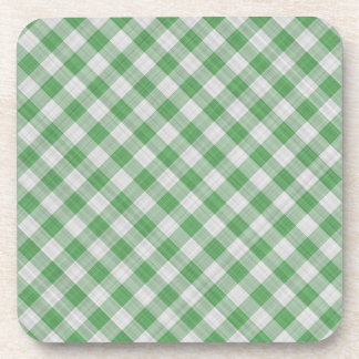 Green Gingham Check - Diagonal Pattern Drink Coaster