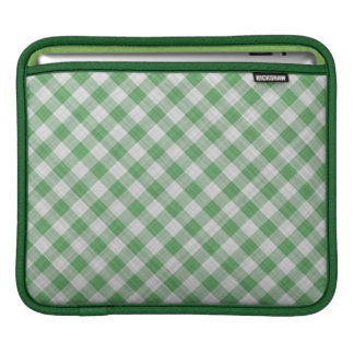 Green Gingham Check - Diagonal Pattern Sleeve For iPads