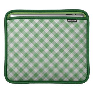 Green Gingham Check - Diagonal Pattern iPad Sleeve
