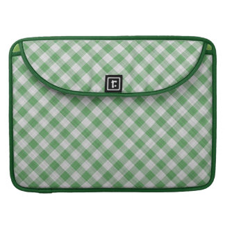 Green Gingham Check - Diagonal Pattern MacBook Pro Sleeve