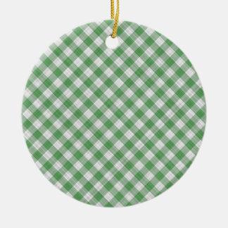 Green Gingham Check - Diagonal Pattern Ornaments