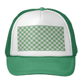 Green Gingham Check - Diagonal Pattern Trucker Hat