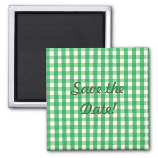Green Gingham Check Pattern 2 Inch Square Magnet