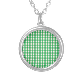 Green Gingham Check Pattern Custom Necklace