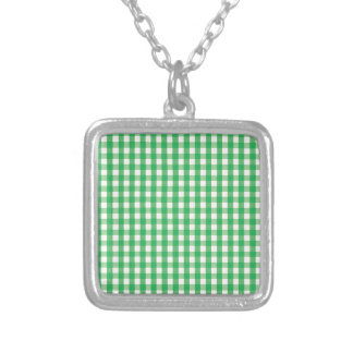 Green Gingham Check Pattern Silver Plated Necklace