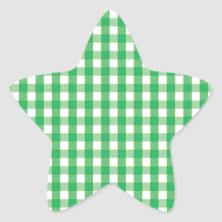 Green Gingham Check Pattern Star Stickers