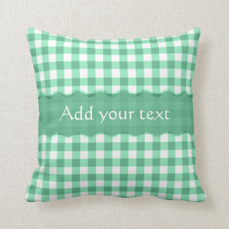 Green Gingham Checkered  Pattern Personalized Throw Pillow