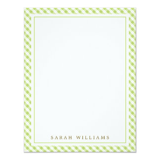 Green Gingham Flat Thank You Notes Card