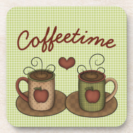 Green Gingham Folkart Coffeetime Beverage Coaster