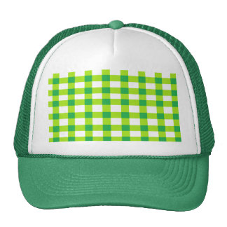 Green Gingham Trucker Hat