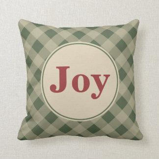 Green Gingham Joy Pillow