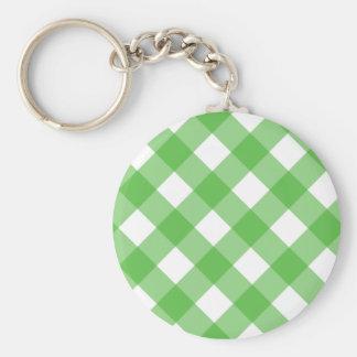 Green Gingham Keychain
