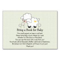 Green Gingham LAMB BABY SHOWER BOOK REQUEST CARD
