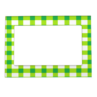 Green Gingham Magnetic Picture Frame