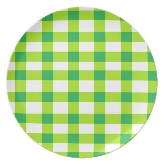 Green Gingham Melamine Plate