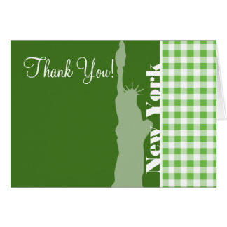 Green Gingham New York; Statue of Liberty Card