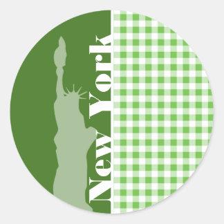 Green Gingham New York; Statue of Liberty Classic Round Sticker