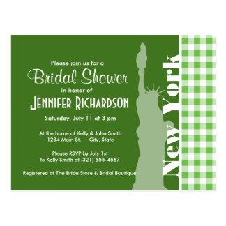 Green Gingham New York; Statue of Liberty Postcard
