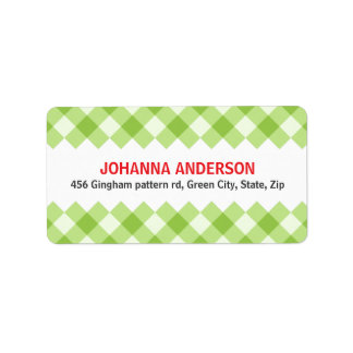 Green gingham pattern checkers return address label