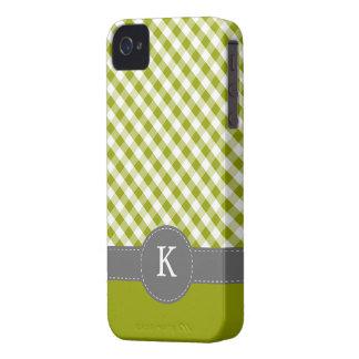 Green Gingham Pattern Custom Monogram iPhone 4 Case