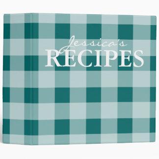 Green gingham pattern kitchen recipe binder book