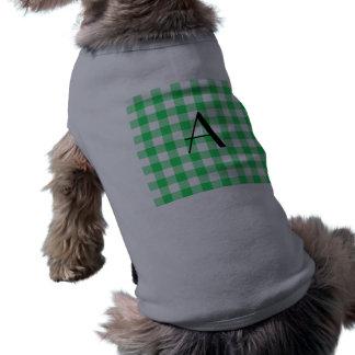 Green gingham pattern monogram pet shirt